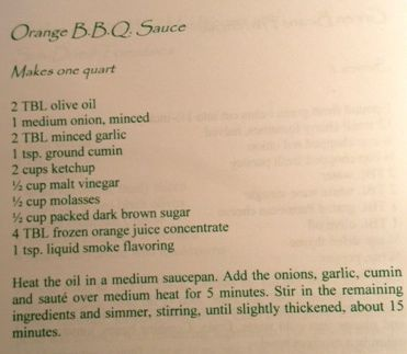 Orange BBQ Sauce from the Cedar Falls In and Spa