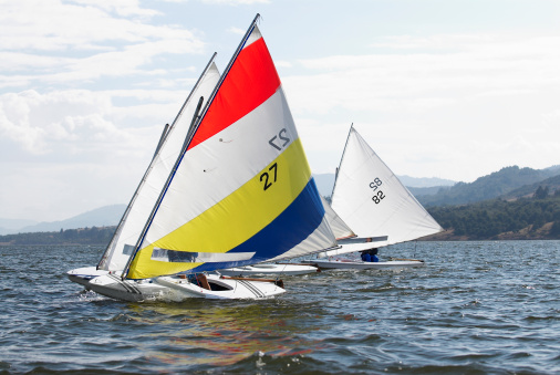 Sailboats in a race